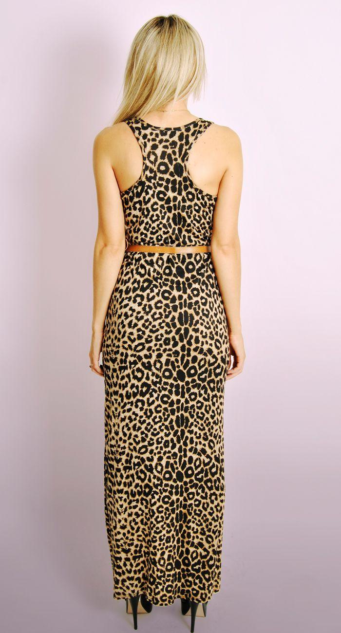 Ladies Leopard Print Maxi Dress With Free Belt